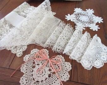Vintage Doilies,  Crochet Napkins , Table  Linen , Antique Lace Doilies - set of 10.
