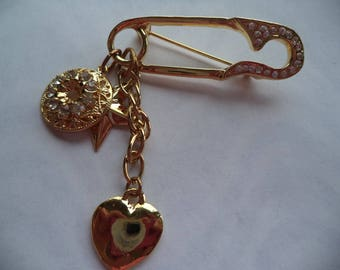 Fabulous Unsigned Goldtone/Rhinestone/Star and Heart Safety Pin Dangler Brooch/Pin