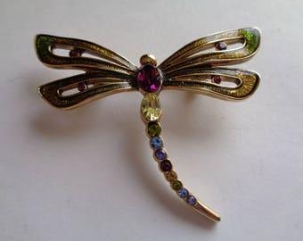 Vintage Signed Monet Enamel/Rhinestone Dragonfly Brooch/Pin