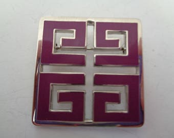 Vintage Signed Givenchy Small Purple/Silver  Brooch/Pin