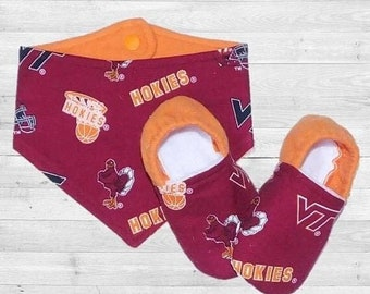 70% off Virginia Tech Hokies • Baby and Toddler Moccasin Slippers • Ready to Ship 12-18m or 2T-3T