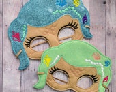 Mermaid Mask in 2 Sizes & 8 Colors, Elastic Back, Beige Acrylic Felt with Glitter Canvas, Choose Hair Color, Costume, Dress Up, Photo Prop