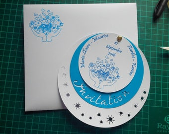 Invitation colors white and blue circles