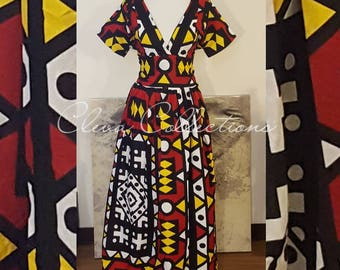 Yellow, Black, White, Red African Print Maxi Dress, Ankara Maxi Dress, African clothing, Women's African Print dress, African Fabric, Tribal