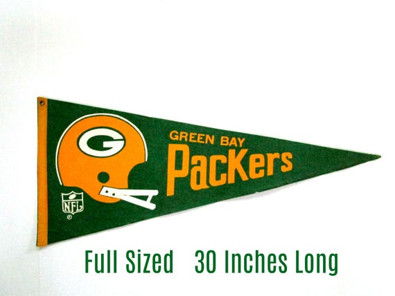 Vintage Green Bay Packers Pennant, NFL Pennant, Green Bay Packers Collectibles, Full Sized, Late 1960s