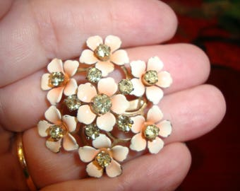Pink and White Flower Brooch/Pin with Rhinestone Centers