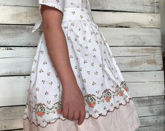Vintage Handmade Linen Floral Peplum Baby Doll Dress 4/5