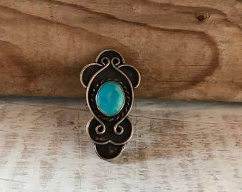 Vintage Sterling Silver Navajo Stamped Larimar Gemstone Ring 5