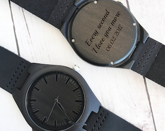 Mens Watch Personalized Mens Watch Leather Watch for Men Black Watch Wood Watch Mechanical Watch Engraved Wood Watch Gift for Him Mens
