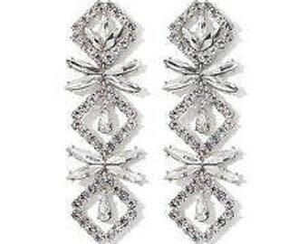 Audrey Hepburn CONVERTIBLE Earrings - Crystal Dangle - 2 in 1 Silver Tone