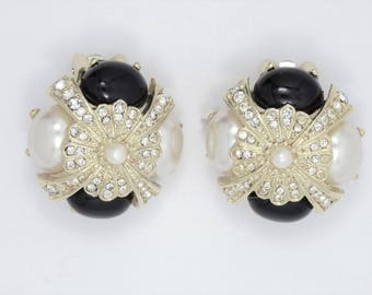 Joan Rivers Black & White Earrings - Clip Ons with Crystals - S2203