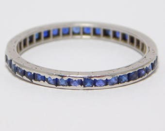 Platinum Art Deco Natural Sapphires Eternity Band Ring