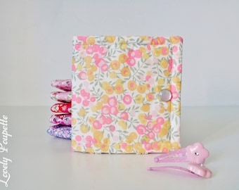 Pouch clips in liberty-range barrettes - hair clip organizer - hair clip pouch - hair clip holder