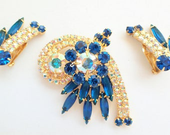 Juliana DeLizza and Elster Cobalt Blue and Aurora Borealis Layered Brooch and Earrings Set