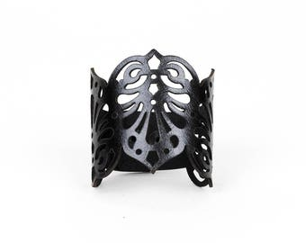 "Laser Cut Leather Cuff ""Teardrops"" in Dark Red, Black, Pewter or Silver"