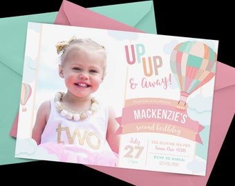 Hot air balloon Birthday Invitation, First Birthday Invitation, Balloon Birthday, Up Up and Away Birthday Invitation, Clouds, Air Balloon