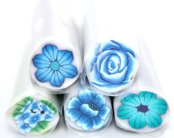 Reduced Polymer Canes / Set of 5 blue flowers
