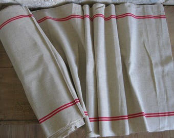 Oatmeal linen fabric with red bands by the meter, 11 meters available
