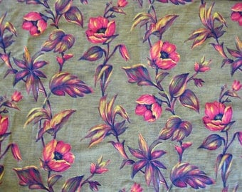 Floral French fabric, retro yellow and orange flower print cotton panels, 4 available