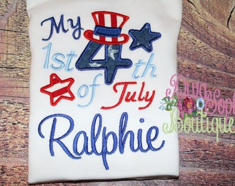 My First Fourth of July T-shirt - Bodysuit Personalized