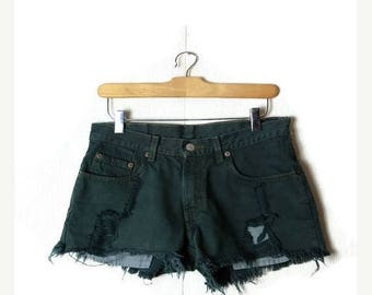 ON SALE Vintage  Levi's  550  Damaged /Distressed Cut off  Denim Shorts from 80's/W28/Dark Green*