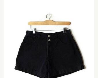 ON SALE Vintage Black High waist Denim Shorts from 90's/W28*