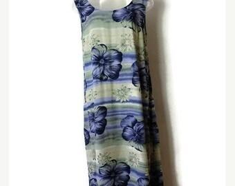 ON SALE Blue x Floral /Hibiscus Hawaiian Sun Dress /Sleeveless Dress from 90's/Tommy Bahama*