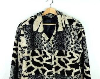 WINTER SALE 20% OFF Vintage Leopard/Animal Print Fleece Jacket from 90's*