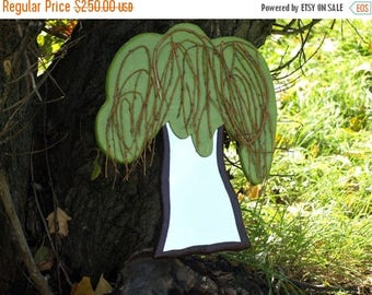 ON SALE 33 % DECORATIVE Wall Mirror tree shaped, sad willow tree mirror, weeping willow, wall hanging, large wall mirror, Mirror for Hippie