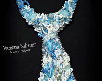 Shibori Necklace, Soutache Necklace, BeadEmbroidery Necklace, Elegant Necklace, light blue necklace, flower necklace, Tie necklace, Tie,