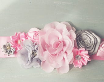 Maternity sash, pink and grey maternity photo prop. Bridal Sash