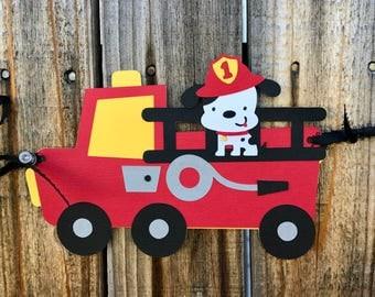 Firetruck Happy Birthday Banner