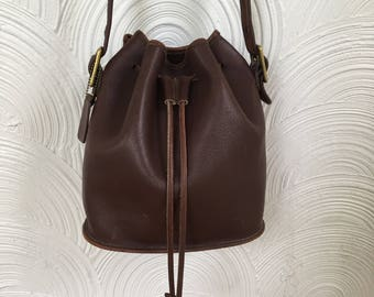 1990s Coach Brown Leather Drawstring Bag