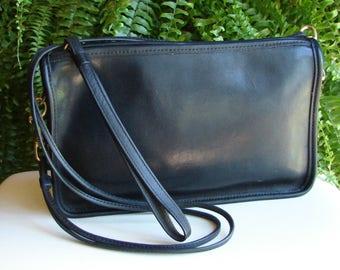 Coach Vintage Black Leather Convertible Clutch Wristlet Crossbody Handbag ~ EUC!!