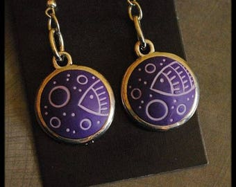 Earrings purple clay with fish and bubbles