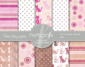 80% OFF SALE Cat kitty, digital paper, commercial use, scrapbook papers, background - PS501