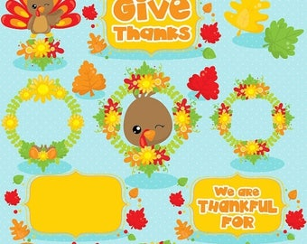 80% OFF SALE Thanksgiving clipart commercial use, turkey clipart, kawaii clipart, Fall vector graphics, digital image - CL1036