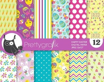 80% OFF SALE Happy Easter school digital paper, commercial use, scrapbook papers, background chevron, stripes - PS854