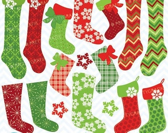 80% OFF SALE Christmas stockings clipart commercial use, vector graphics, digital clip art, digital images - CL615