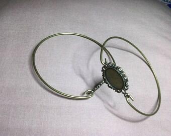 2 Pcs Antique Bronze Oval Cabochon Frame Bracelet Settings 7 cm