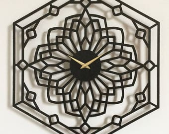 "18""x 22"" Foxwood Wall Clock. Large wall clock, Laser Cut, modern, Boho Chic, decorative, functional art"