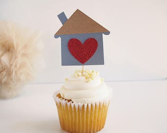 Housewarming Cupcake Toppers - Housewarming Gift - Housewarming Party - New Home - New Home Owner Gift - New Home Owners - Set of 12
