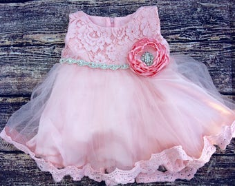 Pink Lace top with pink tutu dress, baby dress, baby pink lace dress