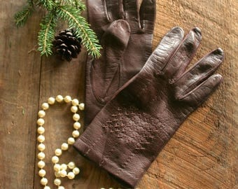 Vintage Chocolate Brown EATON Italian Leather Dress Gloves, Size 7, Gift for Her