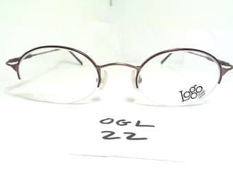 New LOGO PARIS Eyeglass Frame NY2400-01 Half Rim Brown (OGL-22)