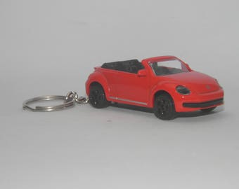 """Volkswagen New Beetle Cabriolet Free Shipping Birthday and anniversary gift Keychain 3"""" Collectible Metal Diecast Scale Model German Car"""
