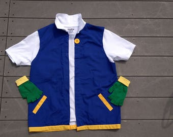 Boy's 8  POKEMON Trainer - ASH Ketchum  Costume  2 Pc  Jacket & Gloves