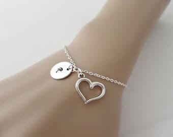 Heart Bracelet, Heart Initial Bracelet, Initial Bracelet, Gifts for Girls, British Seller UK, Bridesmaid Gifts, BFF, Bridesmaid Bracelet