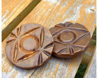 Carved Marbled Coat Buttons, Pair of Extra Large Buttons, Big Buttons, item 361