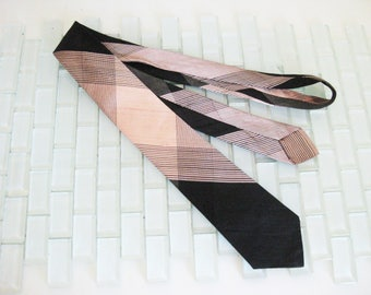 Mod Pink Black Stripe Silk Skinny Tie Mad Men - Mod Silk Skinny Tie